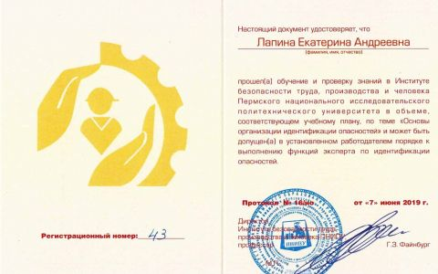 Удостоверение - идентификация опасностей (Лапина Е.А.)